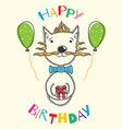 postcard birthday with a cat and inflatable balls vector image vector image