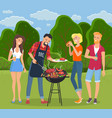 rest in countryside people grill barbecue men vector image vector image