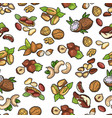 seamless pattern nuts collection vector image