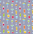 seamless pattern with drinks in glasses with cute vector image vector image