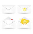 set of email icon envelope with paper sheet vector image