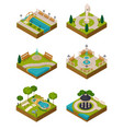 set of isometric landscape design compositions vector image