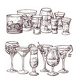 set sketched alcoholic drinks vector image vector image