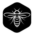template for emblem with white bee on black vector image vector image