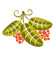 Three simple green leaves with tendrils and orange vector image vector image