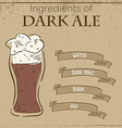vintage of card with recipe of dark ale vector image