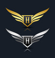 wings shield letter h logo template vector image vector image