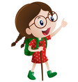 little girl with walking stick vector image