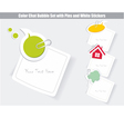 set of speech bubbles white stickers vector image