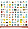 100 company document icons set flat style vector image vector image