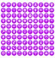 100 love icons set purple vector image