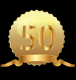 50 gold seal with ribbon vector image vector image