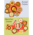 American and british cuisine icon for menu design vector image vector image