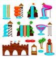 aqua park flat icons set vector image vector image