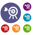 arrow hit the target icons set vector image vector image