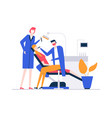 at the dentist - colorful flat design style vector image