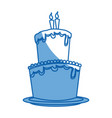 big cake birthday celebration with two candles vector image
