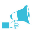 blue color silhouette of hand holding megaphone vector image vector image