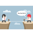 businessman motivate his friend to cross cliff vector image vector image