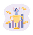 businesswoman with cup prize and statistics bar vector image vector image