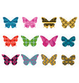 butterflies with a pattern on a white background vector image vector image