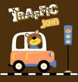 cartoon bear driving car in traffic jam vector image vector image