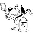 cartoon dog taking a selfie with a fire hydrant vector image vector image