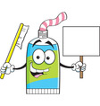 Cartoon tube of toothpaste holding a sign vector image vector image