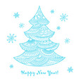 christmas card with hand drawn decorated blue vector image