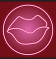 closed lips in the neon circle vector image vector image