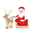 colorful silhouette of reindeer with santa claus vector image vector image