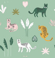 cute seamless pattern with hand drawn leopards vector image