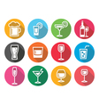 Drink alcohol beverage round flat design icons set vector image vector image