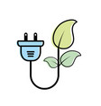 ecology power cable with natural leaves vector image vector image