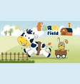 farm field with funny animals cartoon vector image
