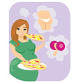 Fat girl eating fattening pizza vector image