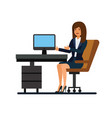 female client support working at office cartoon vector image