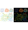 Fireworks on black and white background vector image