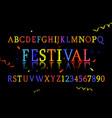 Font alphabet of colored confetti