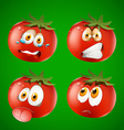 Fresh tomato with facial expression vector image vector image