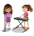 Girl singing and girl playing electronic piano vector image vector image