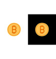 golden bitcoin icon isolated on white and black vector image vector image