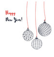 greeting card with christmas balls hand vector image vector image