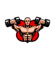 gym bodybuilding sport logo or label vector image vector image
