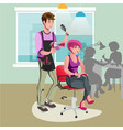 hair stylist in a barber salon vector image vector image