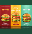 hamburger retro menu detailed template lay vector image