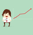 happy businessman with growing graph chart vector image
