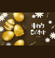 happy easter background with golden eggs vector image vector image