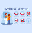 kid brush teeth correct tooth brushing step by vector image
