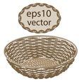 Light brown round wicker basket handmade vector image vector image